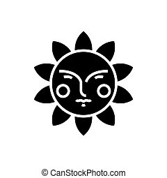 sun face icon, vector illustration, black sign on isolated background