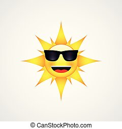 Sun Face with sunglasses and Happy Smile