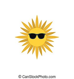 Sun face with sunglasses icon, flat style