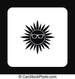 Sun face with sunglasses icon, simple style