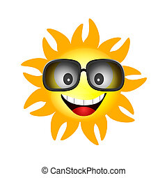 sun face with sunglasses one vector illustration
