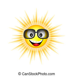 sun face with sunglasses vector illustration