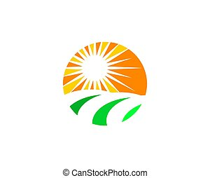Sun Farm Nature Logo Design Template