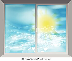 sun., fenêtre, ciel, par, vue