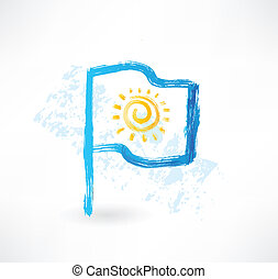 Sun flag grunge icon