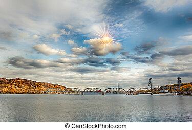Sun Flare of Stillwater Lift Bridge