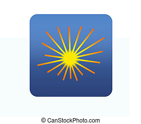 Blue square web icon sun on white background