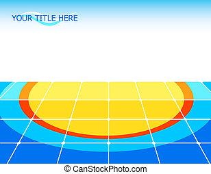 Sun floor - Tiled floor with sun pattern and copy-space
