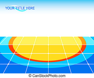 Sun floor - Tiled floor with sun pattern and copy-space