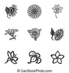 Sun flower icon set, simple style