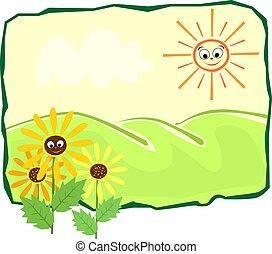 sun flower in a landscape
