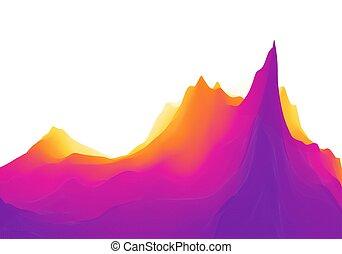 sun., fondo., montagne, montagnoso, illustration., terrain., paesaggio, vettore, astratto, sunrise.
