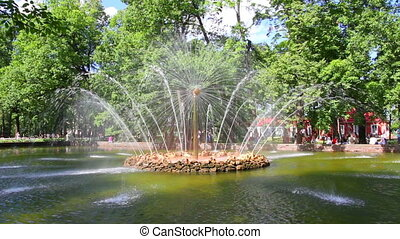 Sun fountain in petergof park St. Petersburg Russia - timelapse