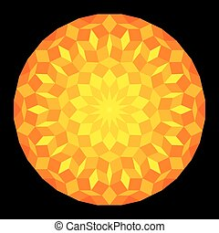 Sun from a Penrose Pattern On Black