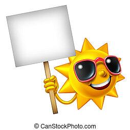 Sun Fun Mascot Sign - Fun in the sun isolated mascot holding...