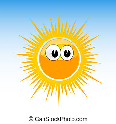 sun funny with eye vector