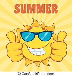 Sun Giving A Double Thumbs Up - Smiling Sun Cartoon Mascot...