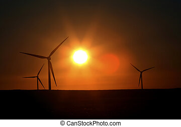 Sun glare upon Alberta windfarm