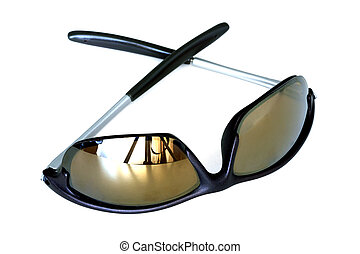 Sun glasses in a plastic frame on a white background
