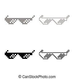 Sun glasses pixel icon set grey black color