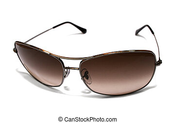 sun glasses - Sun glasses in a metal frame on a white ...