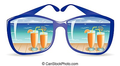 Sun glasses - two glasses with orange drink on the beach are...