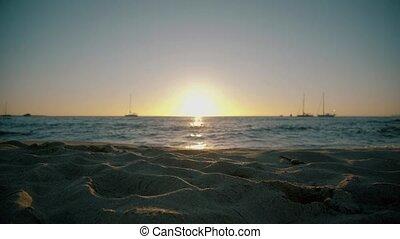 Sun going down on Formentera beach