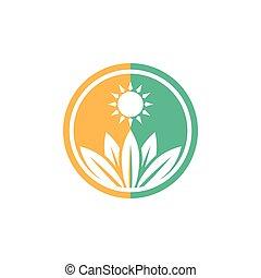 Sun Green Ecology Plant Logo Symbol
