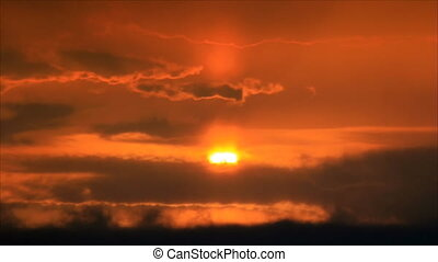Sun halo on hot orange sky sunrise
