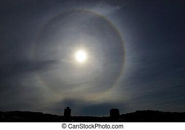 Sun Halo - Sun with circular rainbow - sun halo occurring...