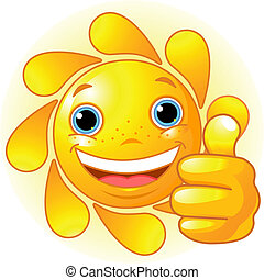 Sun Hand giving thumbs up - Cute and happy Sun with hand...
