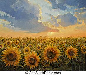 Sun Harmony - An oil painting on canvas of a breathtaking...