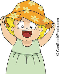 Sun Hat - Illustration of a Smiling Baby Girl Wearing a...