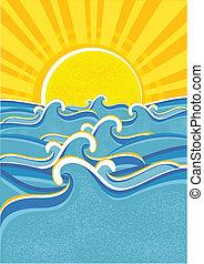 sun., hav, vågor, vektor, gul, illustraction