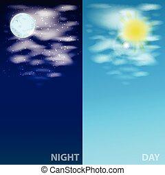 sun., hemel, wolken, illustratie, maan