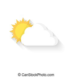 Sun hiding behind the cloud. Vector illustration