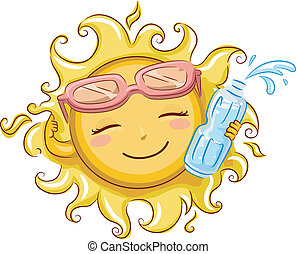 Sun Holding a Bottled Water