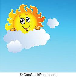 Sun holding cloud on blue sky - vector illustration.