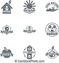 Sun house logo set, simple style - Sun house logo set....