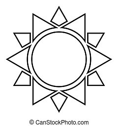 Sun icon black color outline vector illustration flat style image