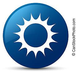 Sun icon blue round button