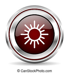 sun icon chrome border round web button silver metallic pushbutton