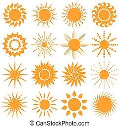 sun icon collection - vector illustration