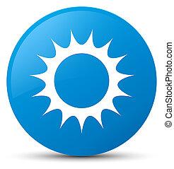 Sun icon cyan blue round button
