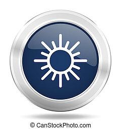 sun icon, dark blue round metallic internet button, web and mobile app illustration