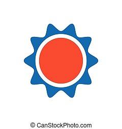 Sun icon design blue and orange