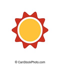 Sun icon design yellow and red color