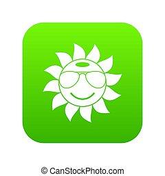 Sun icon digital green