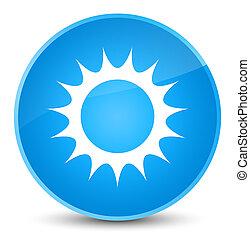 Sun icon elegant cyan blue round button
