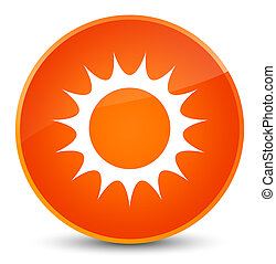 Sun icon elegant orange round button